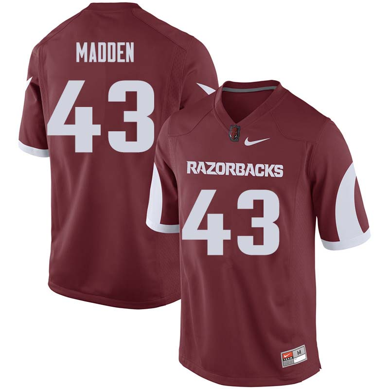 Men #43 George Madden Arkansas Razorback College Football Jerseys Sale-Cardinal