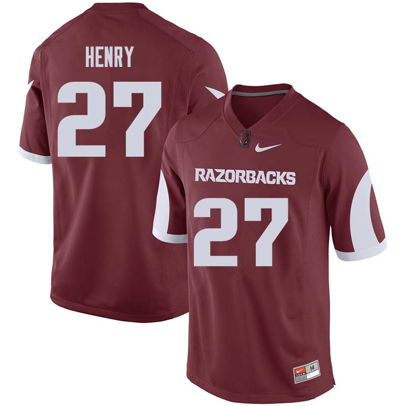 Men #27 Hayden Henry Arkansas Razorback College Football Jerseys Sale-Cardinal