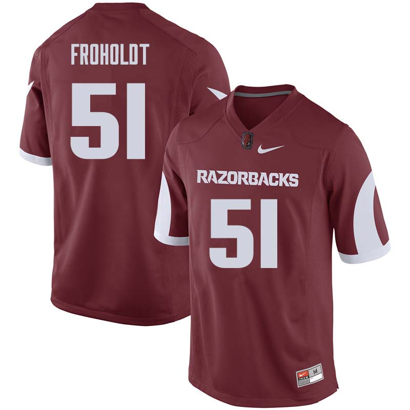 Men #51 Hjalte Froholdt Arkansas Razorback College Football Jerseys Sale-Cardinal