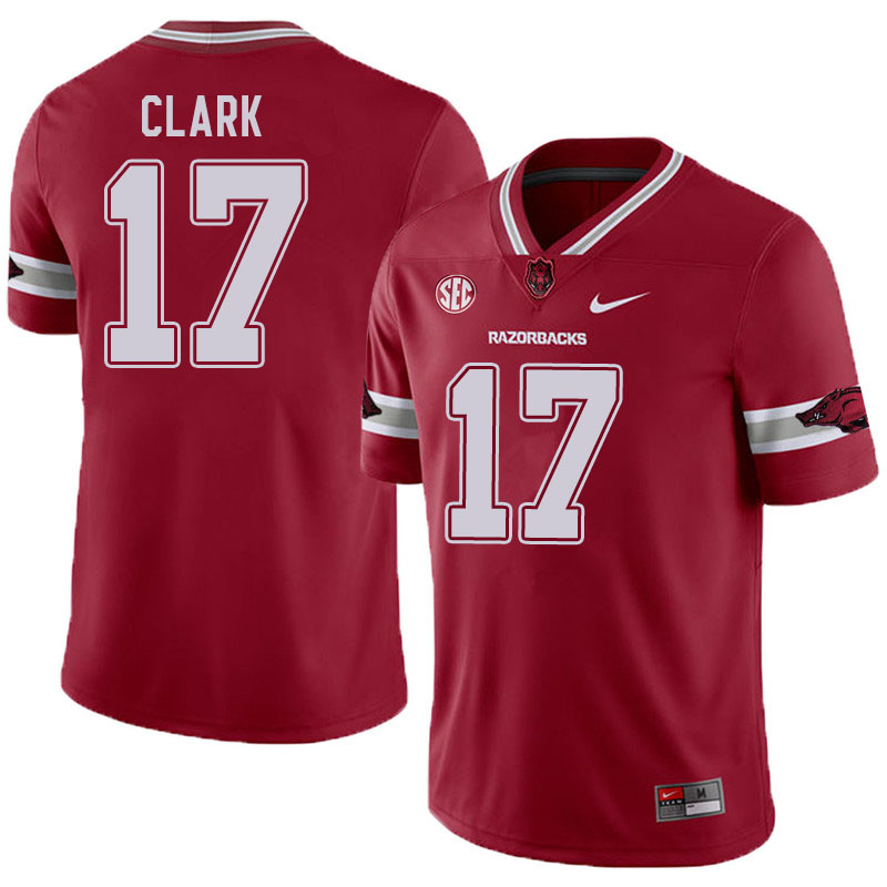 Men #17 Hudson Clark Arkansas Razorbacks College Football Jerseys Sale-Alternate
