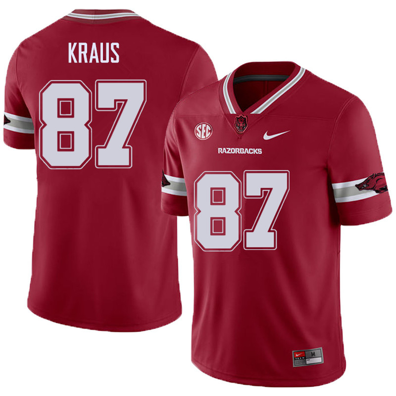 Men #87 Jack Kraus Arkansas Razorback College Football Alternate Jerseys Sale-Cardinal