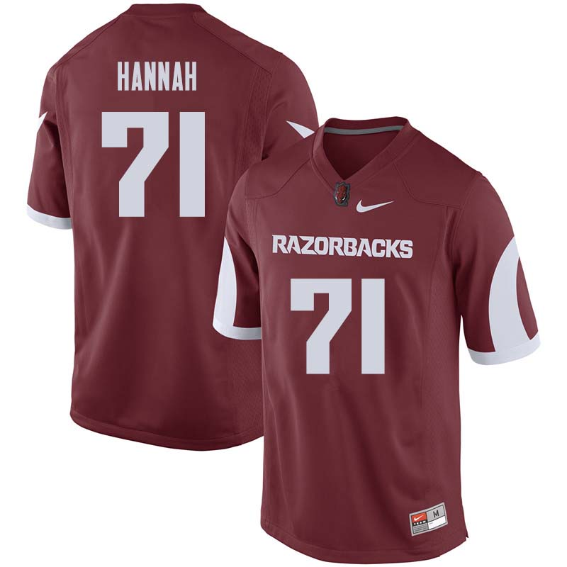 Men #71 Jackson Hannah Arkansas Razorback College Football Jerseys Sale-Cardinal