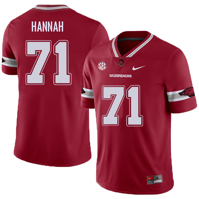 Men #71 Jackson Hannah Arkansas Razorback College Football Alternate Jerseys Sale-Cardinal