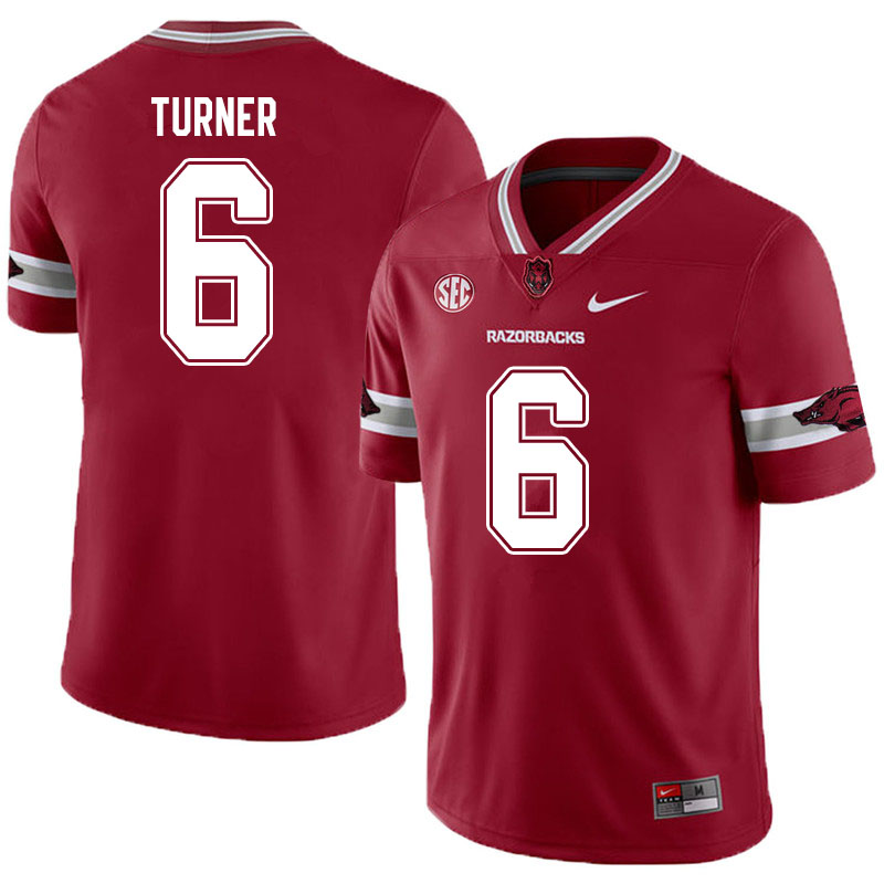 Men #6 Jacorrei Turner Arkansas Razorbacks College Football Jerseys Sale-Alternate
