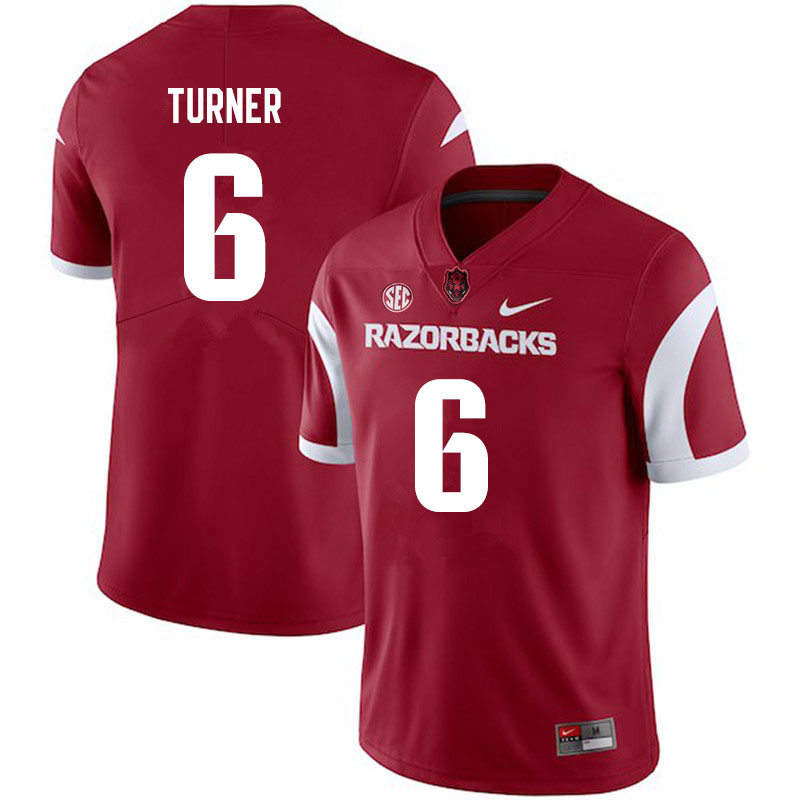 Men #6 Jacorrei Turner Arkansas Razorbacks College Football Jerseys Sale-Cardinal