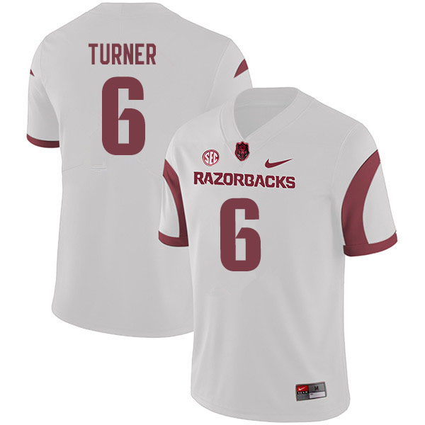 Men #6 Jacorrei Turner Arkansas Razorbacks College Football Jerseys Sale-White