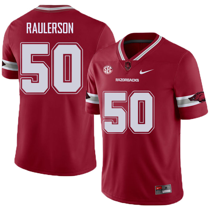 Men #50 Jake Raulerson Arkansas Razorback College Football Alternate Jerseys Sale-Cardinal