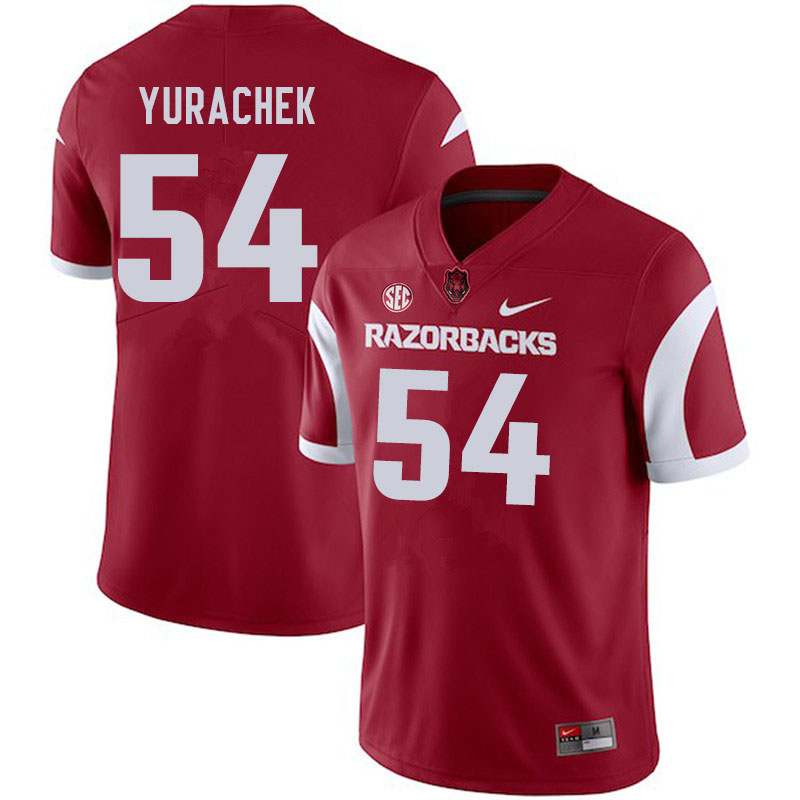 Men #54 Jake Yurachek Arkansas Razorbacks College Football Jerseys Sale-Cardinal