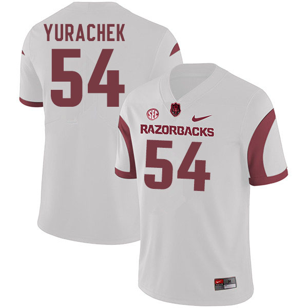 Men #54 Jake Yurachek Arkansas Razorbacks College Football Jerseys Sale-White