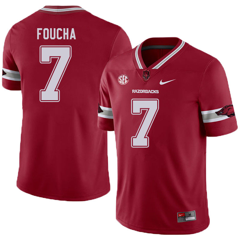 Men #7 Joe Foucha Arkansas Razorbacks College Football Jerseys Sale-Alternate