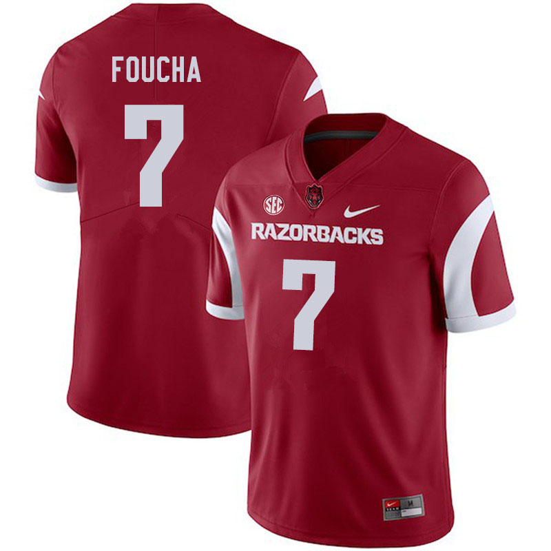 Men #7 Joe Foucha Arkansas Razorbacks College Football Jerseys Sale-Cardinal