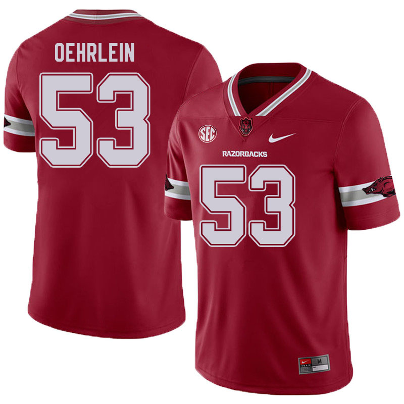 Men #53 John Oehrlein Arkansas Razorbacks College Football Jerseys Sale-Alternate