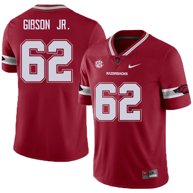Men #62 Johnny Gibson Jr. Arkansas Razorback College Football Alternate Jerseys Sale-Cardinal