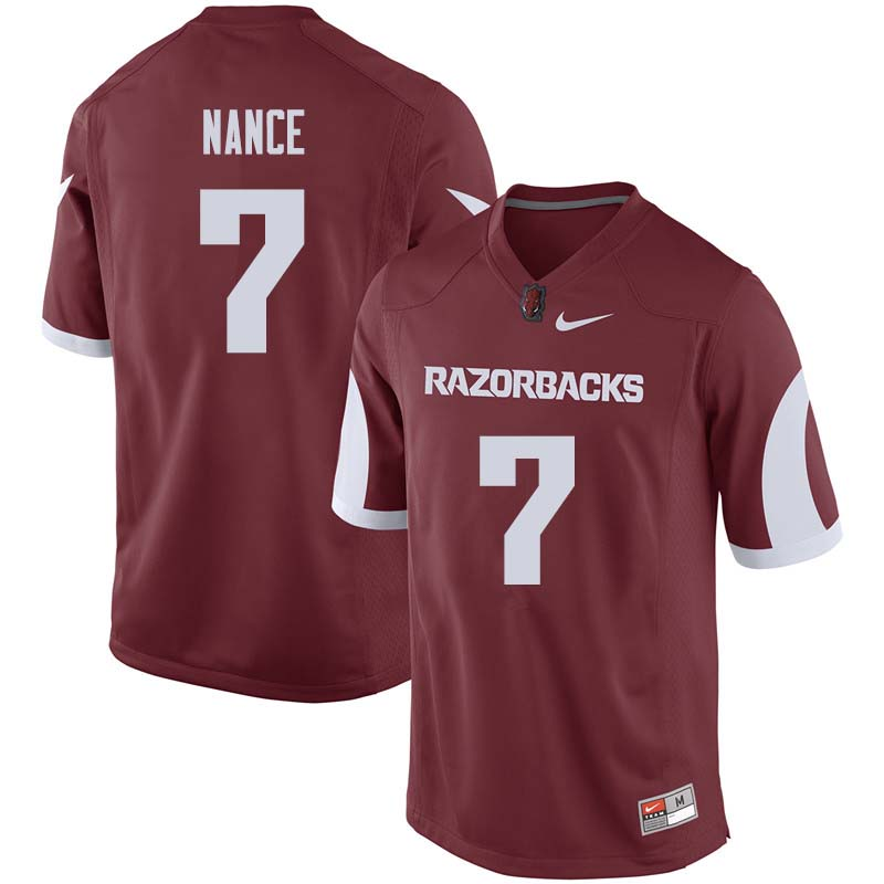 Men #7 Jonathan Nance Arkansas Razorback College Football Jerseys Sale-Cardinal