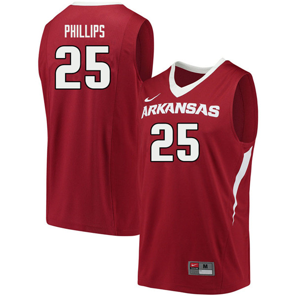 Men #25 Jordan Phillips Arkansas Razorbacks College Basketball Jerseys Sale-Cardinal