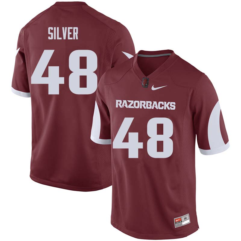 Men #48 Jordan Silver Arkansas Razorback College Football Jerseys Sale-Cardinal