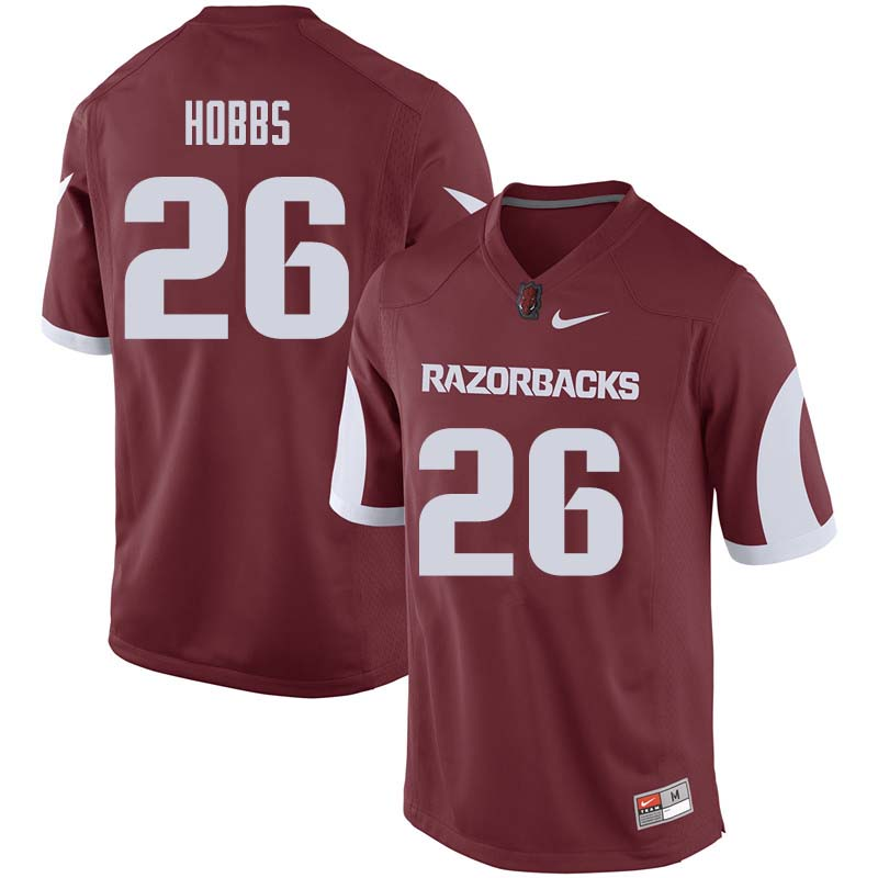 Men #26 Justice Hobbs Arkansas Razorback College Football Jerseys Sale-Cardinal