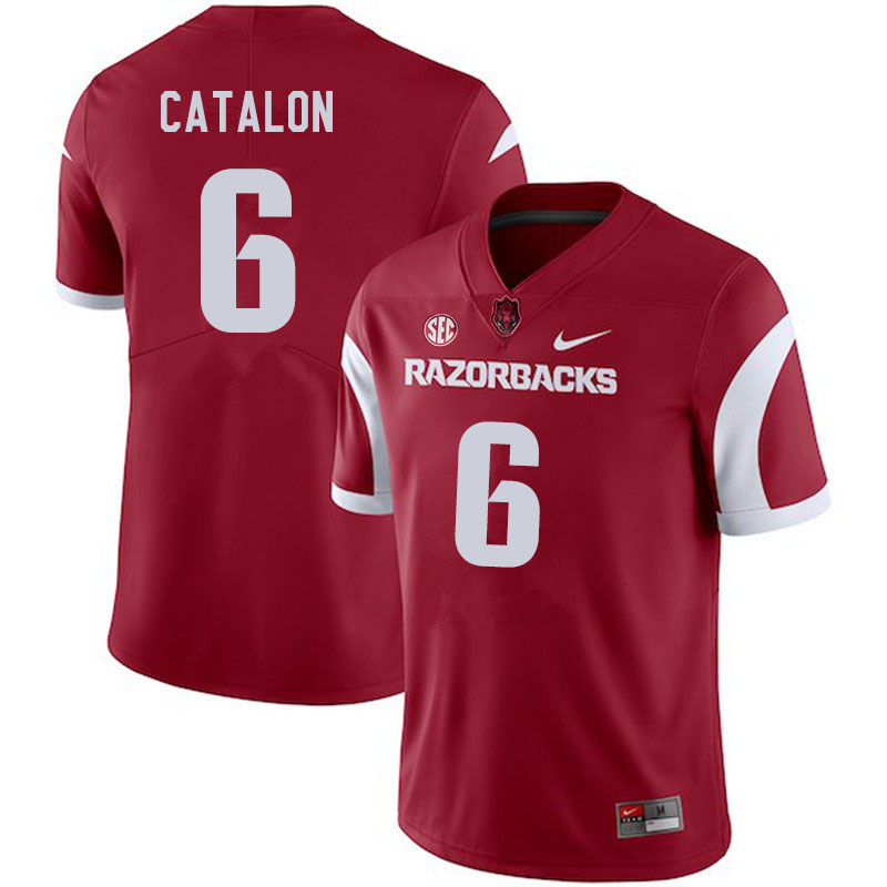 Men #6 Kendall Catalon Arkansas Razorbacks College Football Jerseys Sale-Cardinal