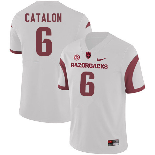 Men #6 Kendall Catalon Arkansas Razorbacks College Football Jerseys Sale-White