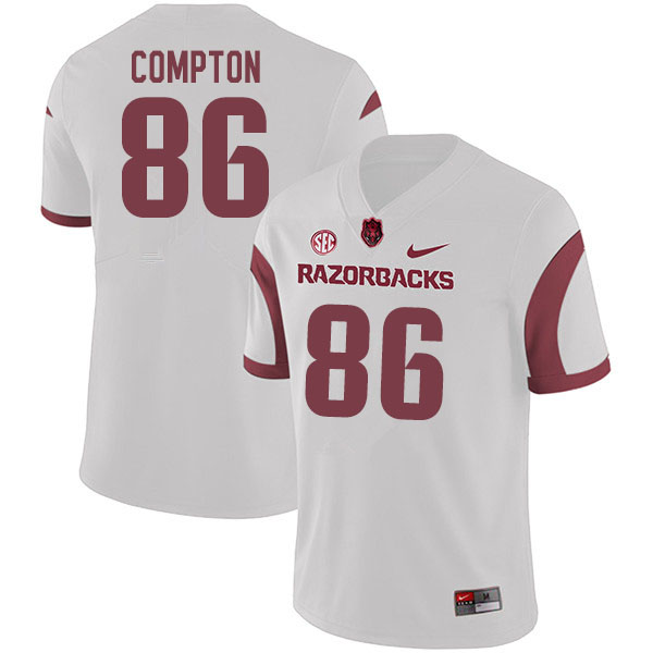 Men #86 Kevin Compton Arkansas Razorbacks College Football Jerseys Sale-White