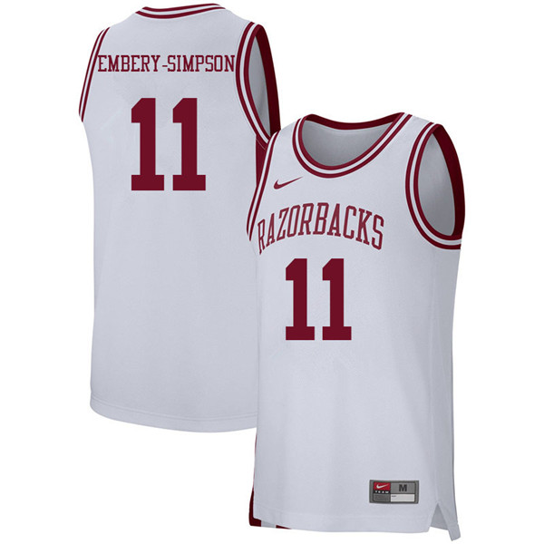 Men #11 Keyshawn Embery-Simpson Arkansas Razorbacks College Basketball 39:39Jerseys Sale-White