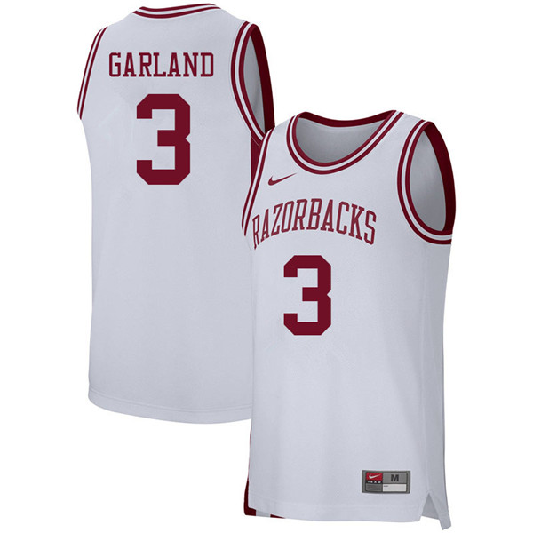 Men #3 Khalil Garland Arkansas Razorbacks College Basketball 39:39Jerseys Sale-White