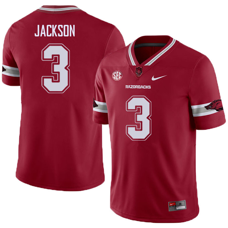 Men #3 Koilan Jackson Arkansas Razorback College Football Alternate Jerseys Sale-Cardinal