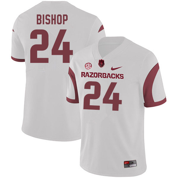 Men #24 LaDarrius Bishop Arkansas Razorbacks College Football Jerseys Sale-White