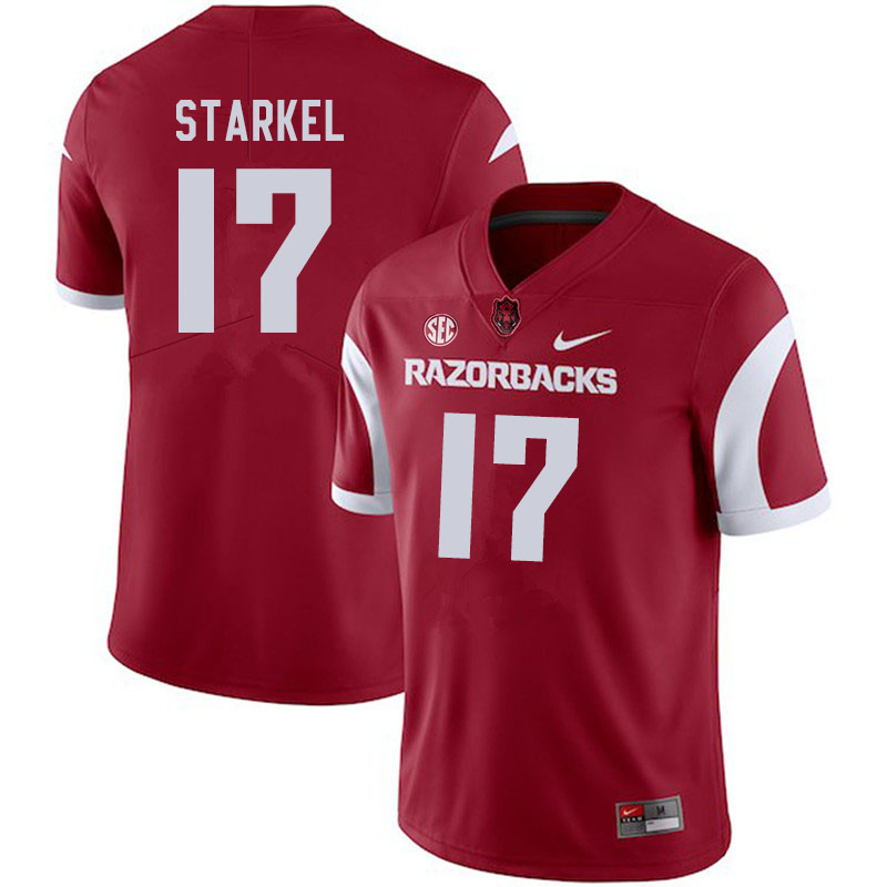 Men #17 Nick Starkel Arkansas Razorbacks College Football Jerseys Sale-Cardinal