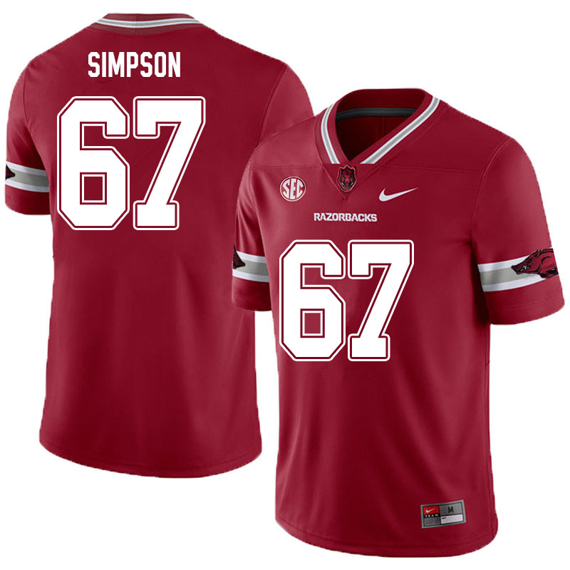 Men #67 Payton Simpson Arkansas Razorbacks College Football Jerseys Sale-Alternate