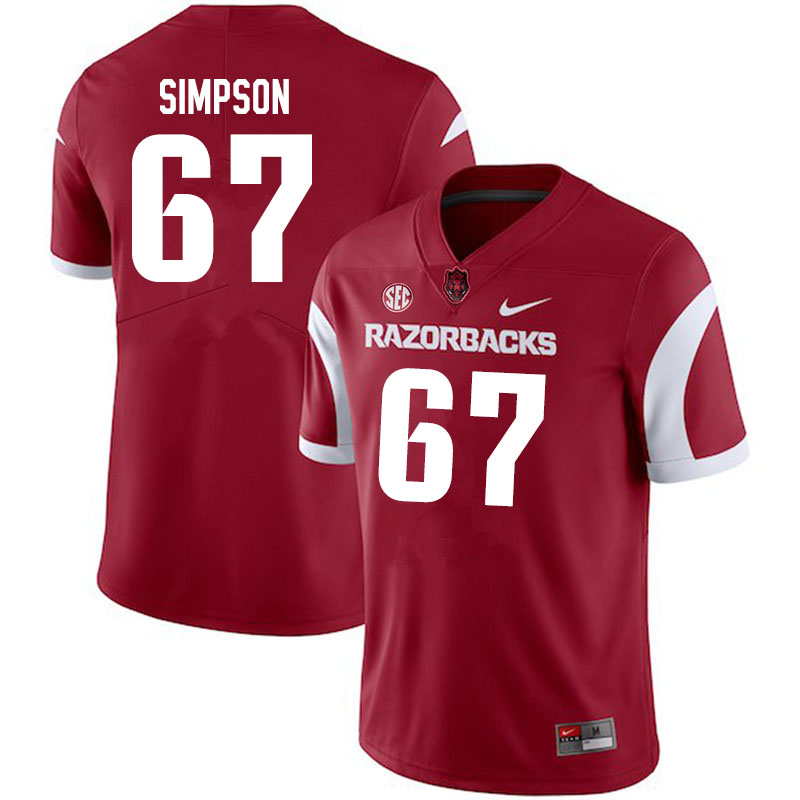 Men #67 Payton Simpson Arkansas Razorbacks College Football Jerseys Sale-Cardinal