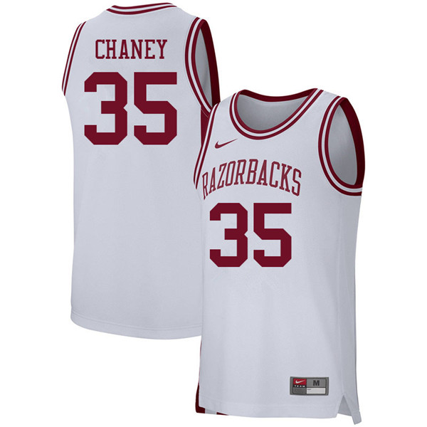 Men #35 Reggie Chaney Arkansas Razorbacks College Basketball 39:39Jerseys Sale-White
