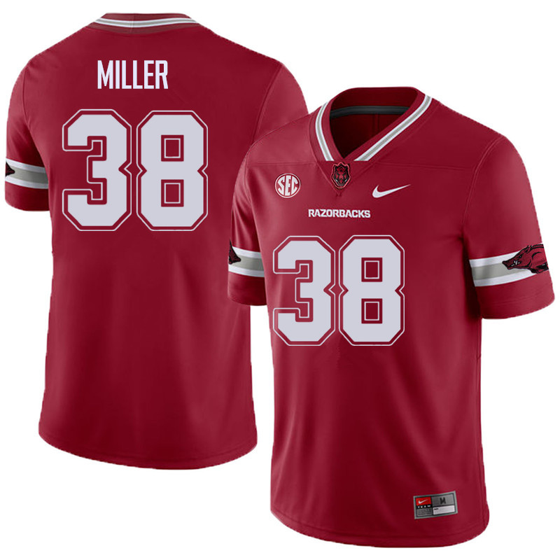Men #38 Reid Miller Arkansas Razorback College Football Alternate Jerseys Sale-Cardinal