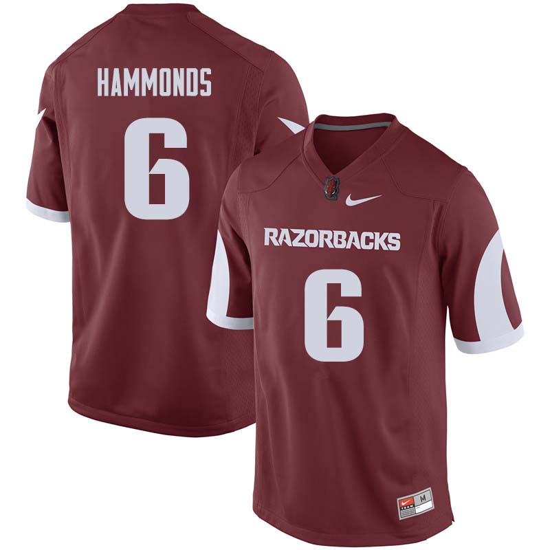 Men #6 T.J. Hammonds Arkansas Razorback College Football Jerseys Sale-Cardinal