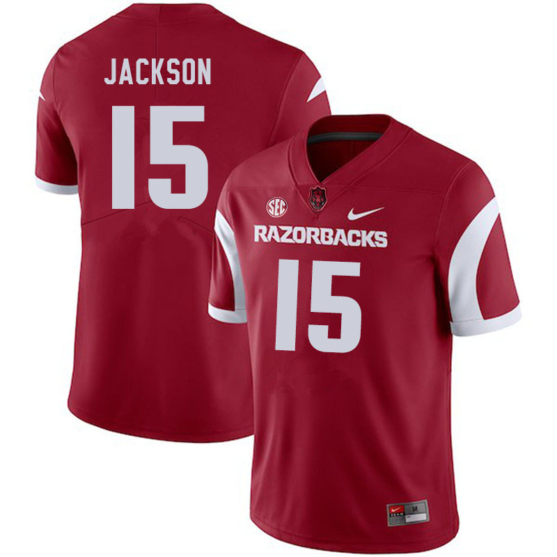 Men #15 T.Q. Jackson Arkansas Razorbacks College Football Jerseys Sale-Cardinal