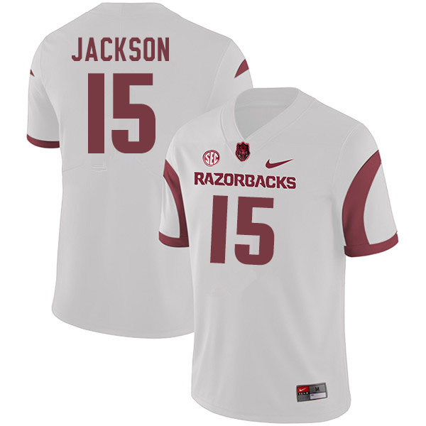 Men #15 T.Q. Jackson Arkansas Razorbacks College Football Jerseys Sale-White