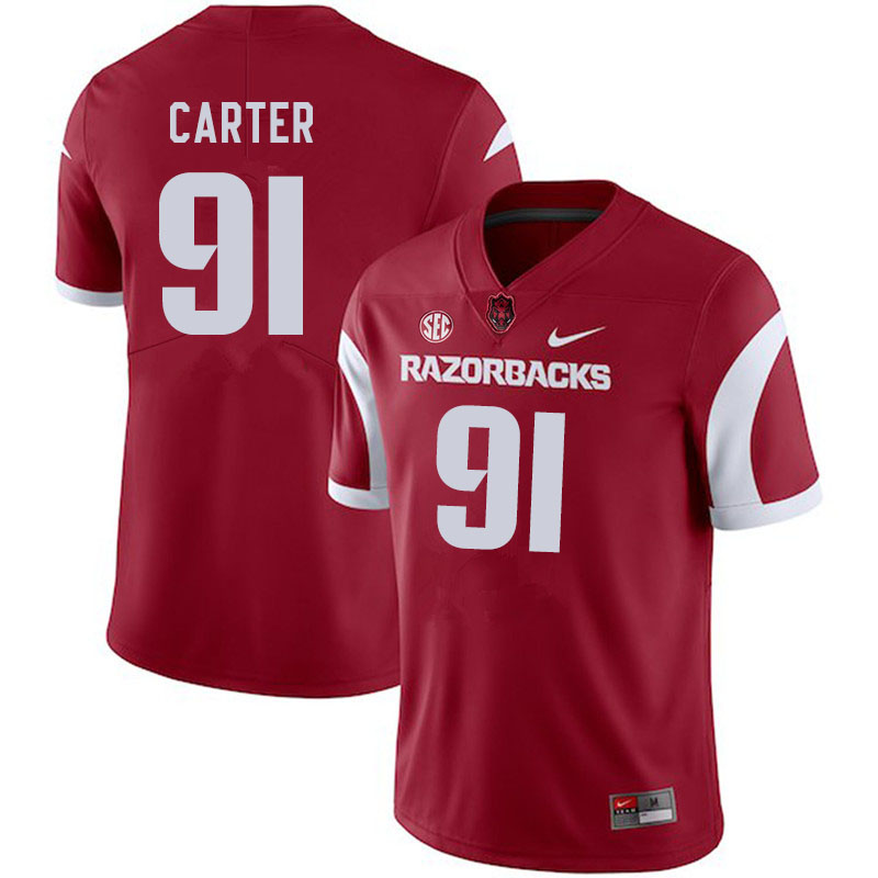 Men #91 Taurean Carter Arkansas Razorbacks College Football Jerseys Sale-Cardinal