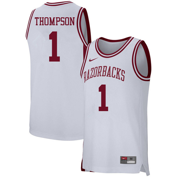 Men #1 Trey Thompson Arkansas Razorbacks College Basketball 39:39Jerseys Sale-White