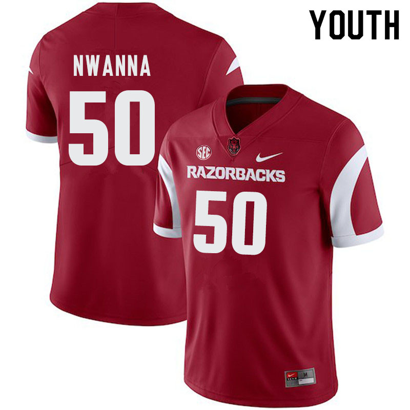 Youth #50 Chibueze Nwanna Arkansas Razorbacks College Football Jerseys-Cardinal