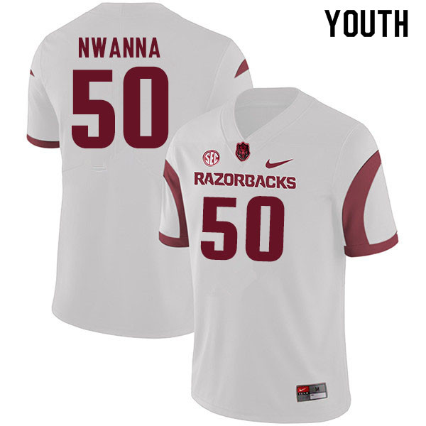 Youth #50 Chibueze Nwanna Arkansas Razorbacks College Football Jerseys Sale-White