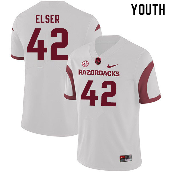 Youth #42 Chris Elser Arkansas Razorbacks College Football Jerseys Sale-White