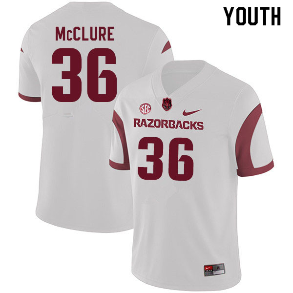 Youth #36 D'Vone McClure Arkansas Razorbacks College Football Jerseys Sale-White