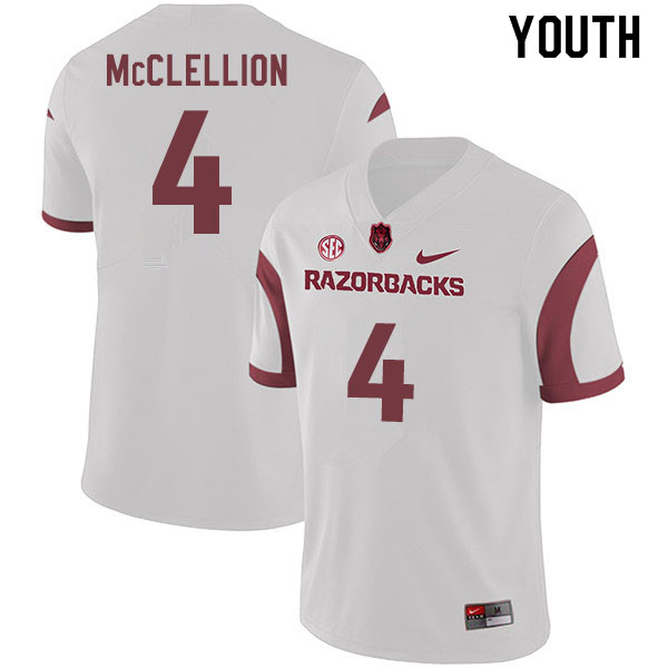 Youth #4 Jarques McClellion Arkansas Razorbacks College Football Jerseys Sale-White