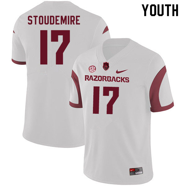 Youth #17 Jimmie Stoudemire Arkansas Razorbacks College Football Jerseys Sale-White