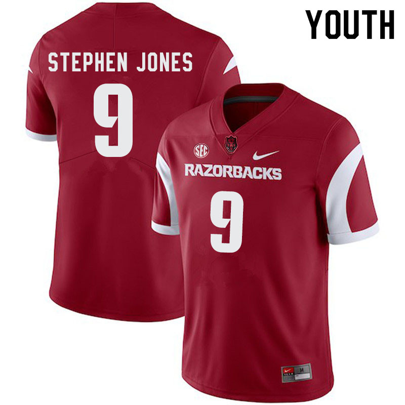 Youth #9 John Stephen Jones Arkansas Razorbacks College Football Jerseys-Cardinal