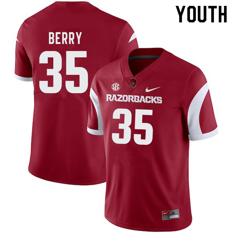 Youth #35 Matt Berry Arkansas Razorbacks College Football Jerseys-Cardinal