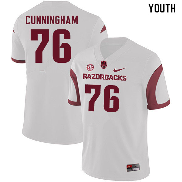 Youth #76 Myron Cunningham Arkansas Razorbacks College Football Jerseys Sale-White