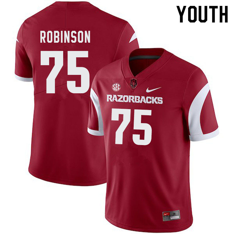 Youth #75 Silas Robinson Arkansas Razorbacks College Football Jerseys-Cardinal