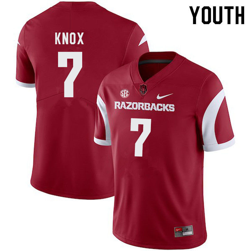 Youth #7 Trey Knox Arkansas Razorbacks College Football Jerseys-Cardinal