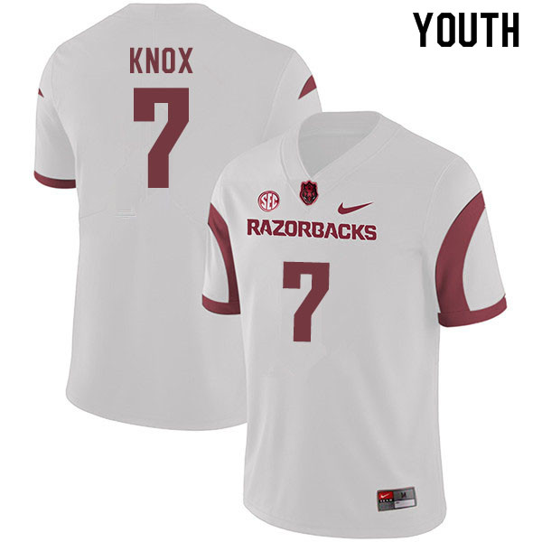 Youth #7 Trey Knox Arkansas Razorbacks College Football Jerseys Sale-White